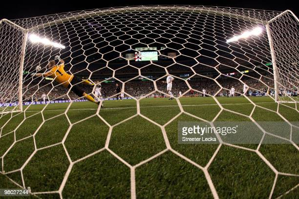Gunnleifur Gunnleifsson of Iceland dives to stop a shot by Mexico during an international friendly at Bank of America Stadium on March 24 2010 in...