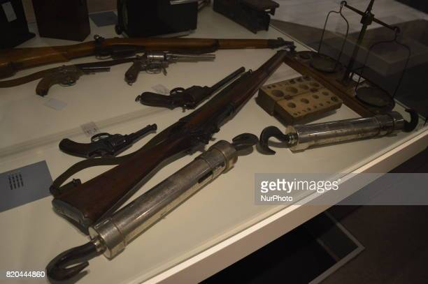 Guns and pistols are seen at the PTT Stamp Museum in Ankara Turkey on July 21 2017