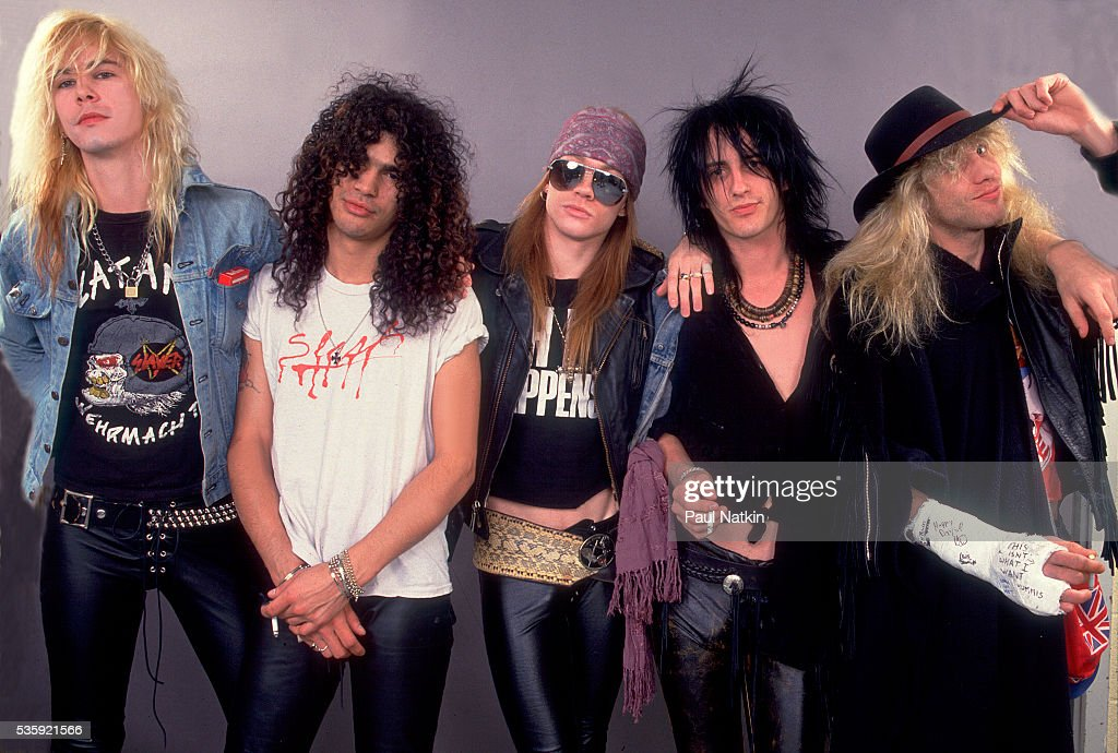Guns And Roses (Duff McCagan, Slash, Axl Rose, Izzy Stradlin, Steven Adler) at the UIC Pavillion in Chicago, Illinois, August 21, 1987 .