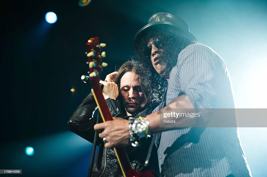 Guns n Roses guitarist Slash and Myles Kennedy during the Kings of Chaos concert on June 16, 2013 in Sun City, South Africa. Kings of Chaos performed in Sun City on June 15 and 16, 2013.