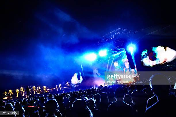 Guns N' Roses perform onstage during day 2 of the 2016 Coachella Valley Music Arts Festival Weekend 1 at the Empire Polo Club on April 16 2016 in...