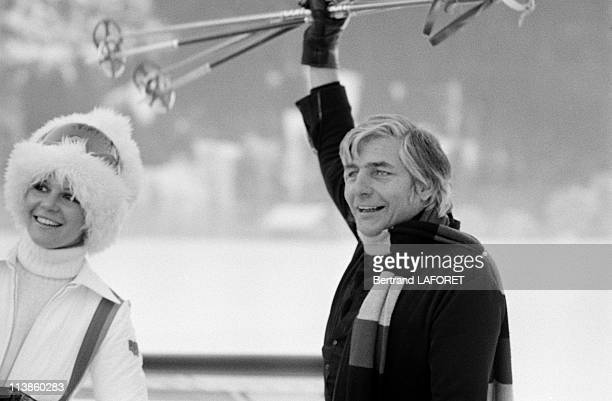 Gunter Sachs and his wife Mirja Larsen on holiday in Gstaad December 28 1975