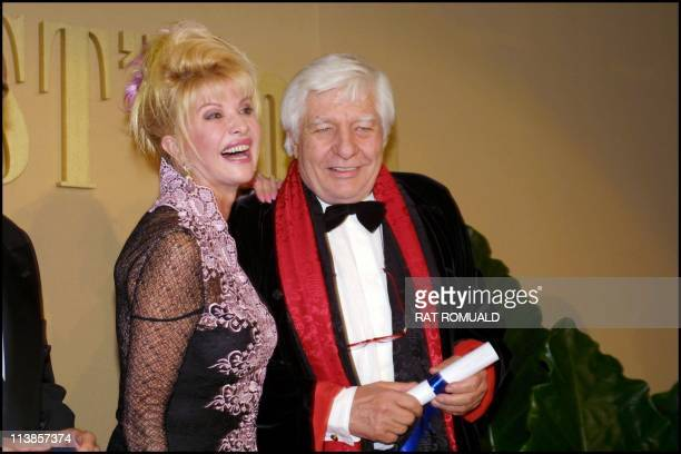 Gunter Sachs and Ivana Trump at the Best 2000' awards ceremony at the four season George V in 2000