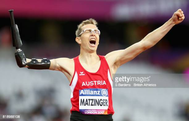 Gunther Matzinger of Austria celebrates winning the gold medal in the Men's 400m T47 Final during Day Six of the IPC World ParaAthletics...