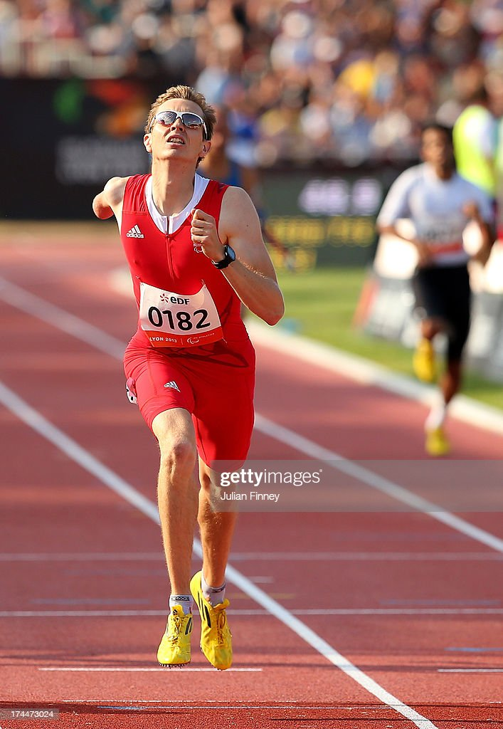 Gunther Matzinger of Austria in action on his way to winning the Men's 400m T46 final during day seven of the IPC Athletics World Championships on July 26, 2013 in Lyon, France.