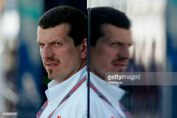 Gunther Steiner of Red Bull Racing looks on in the paddock after Practice for the European Formula One Grand Prix at the Nurburgring on May 27 2005...