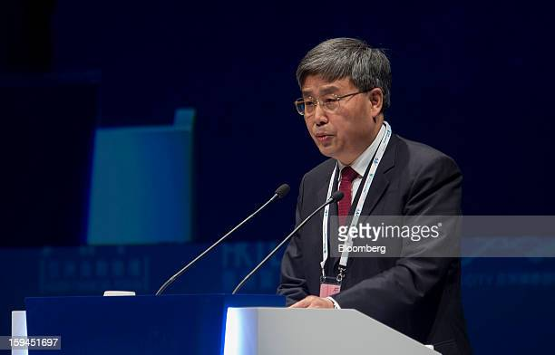 Guo Shuqing chairman of China Securities Regulatory Commission attends the Asian Financial Forum in Hong Kong China on Monday Jan 14 2013 China can...