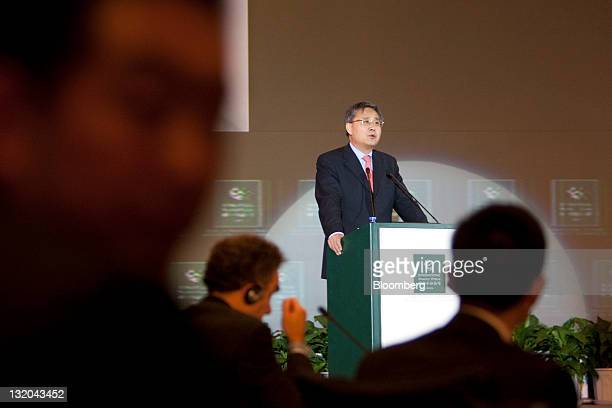 Guo Shuqing chairman of the China Securities Regulatory Commission speaks at the International Finance Forum 2011 Annual Conference in Beijing China...