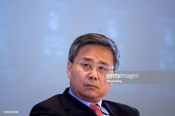 Guo Shuqing chairman of the China Securities Regulatory Commission attends the International Finance Forum 2011 Annual Conference in Beijing China on...