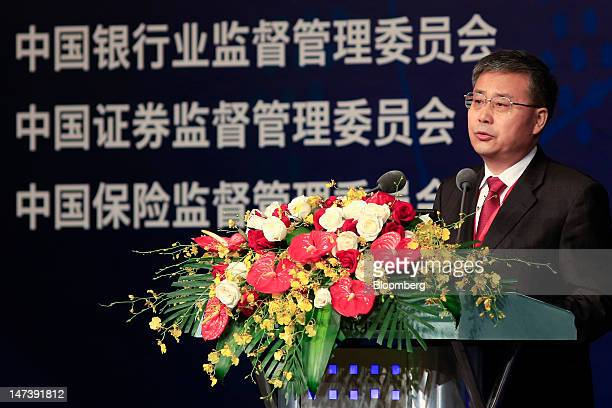 Guo Shuqing chairman of the China Securities Regulatory Commission speaks at the Lujiazui Forum in Shanghai China on Friday June 29 2012 The Lujiazui...