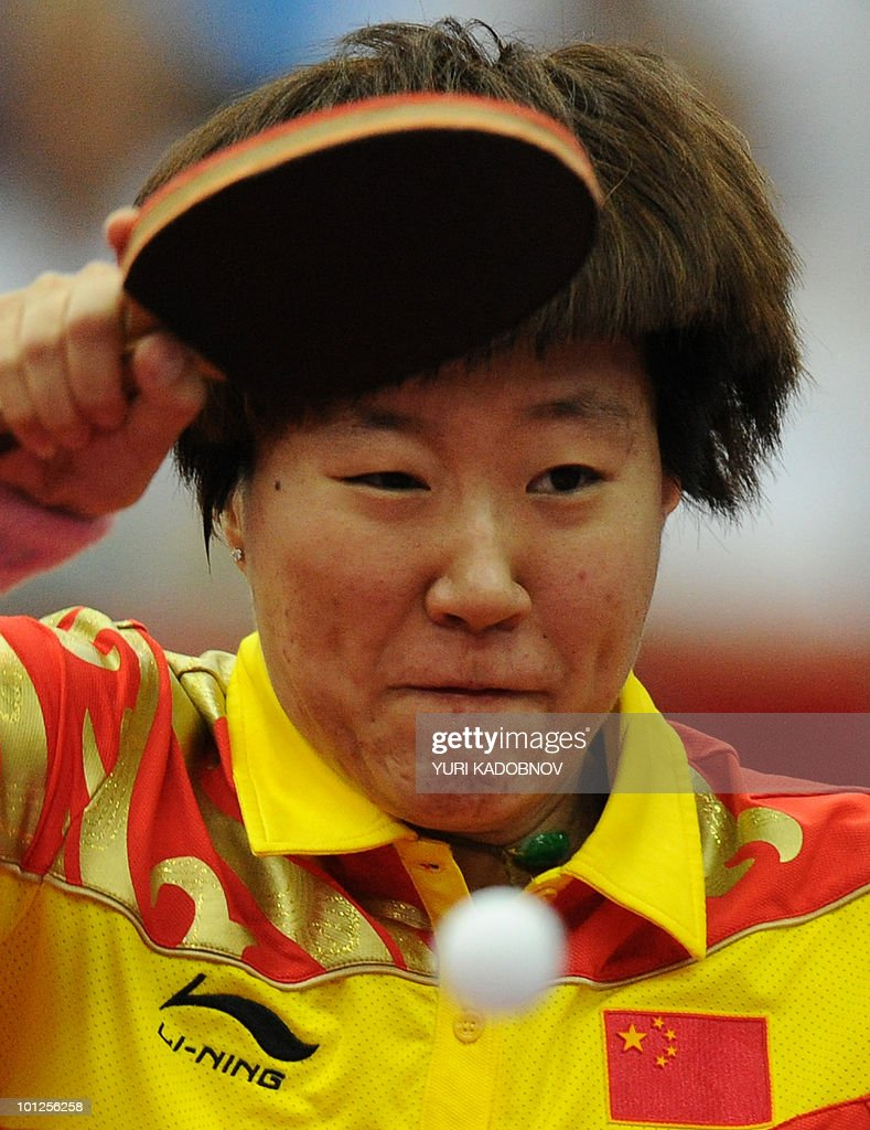 Guo Yan of China returns a service to Kasumi Ishikawa of Japan during the women's semi final at the 2010 World Team Table Tennis Championships in Moscow on May 29, 2010.