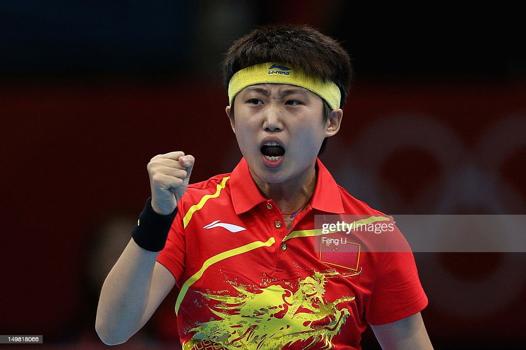 <a gi-track='captionPersonalityLinkClicked' href=/galleries/search?phrase=Guo+Yue&family=editorial&specificpeople=2267823 ng-click='$event.stopPropagation()'>Guo Yue</a> of China celebrates during Women's Team Table Tennis quarter-final match against team of Netherlands on Day 8 of the London 2012 Olympic Games at ExCeL on August 4, 2012 in London, England.