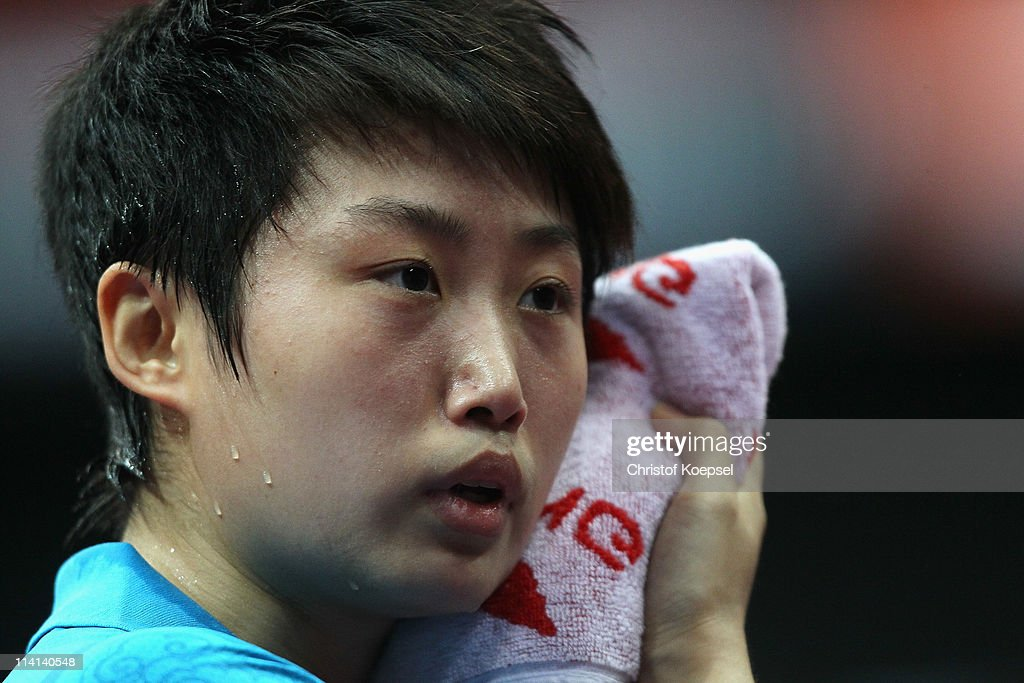 <a gi-track='captionPersonalityLinkClicked' href=/galleries/search?phrase=Guo+Yue+-+Table+Tennis+Player&family=editorial&specificpeople=2267823 ng-click='$event.stopPropagation()'>Guo Yue</a> of China looks on during the Quarter Final Women's Single match between Fan Ying of China and <a gi-track='captionPersonalityLinkClicked' href=/galleries/search?phrase=Guo+Yue+-+Table+Tennis+Player&family=editorial&specificpeople=2267823 ng-click='$event.stopPropagation()'>Guo Yue</a> of China during the World Table Tennis Championships at Ahoy Arena on May 13, 2011 in Rotterdam, Netherlands. <a gi-track='captionPersonalityLinkClicked' href=/galleries/search?phrase=Guo+Yue+-+Table+Tennis+Player&family=editorial&specificpeople=2267823 ng-click='$event.stopPropagation()'>Guo Yue</a> of China won 4-3 against Fang Ying of China.