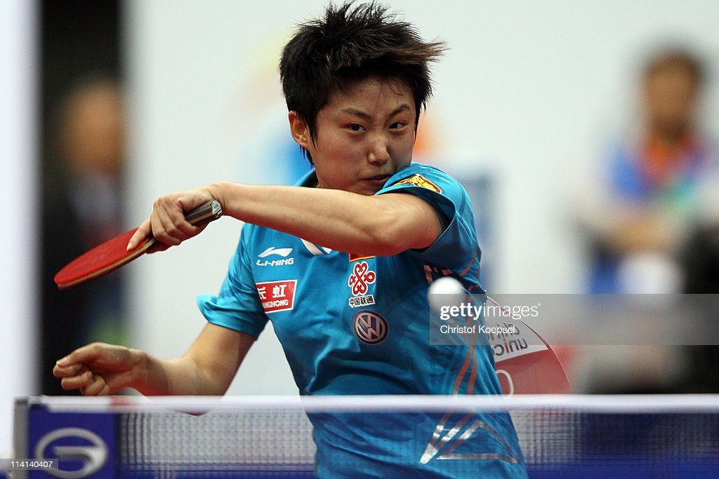 <a gi-track='captionPersonalityLinkClicked' href=/galleries/search?phrase=Guo+Yue&family=editorial&specificpeople=2267823 ng-click='$event.stopPropagation()'>Guo Yue</a> of China plays a forehand during the Quarter Final Women's Single match between Fan Ying of China and <a gi-track='captionPersonalityLinkClicked' href=/galleries/search?phrase=Guo+Yue&family=editorial&specificpeople=2267823 ng-click='$event.stopPropagation()'>Guo Yue</a> of China during the World Table Tennis Championships at Ahoy Arena on May 13, 2011 in Rotterdam, Netherlands. <a gi-track='captionPersonalityLinkClicked' href=/galleries/search?phrase=Guo+Yue&family=editorial&specificpeople=2267823 ng-click='$event.stopPropagation()'>Guo Yue</a> of China won 4-3 against Fang Ying of China.