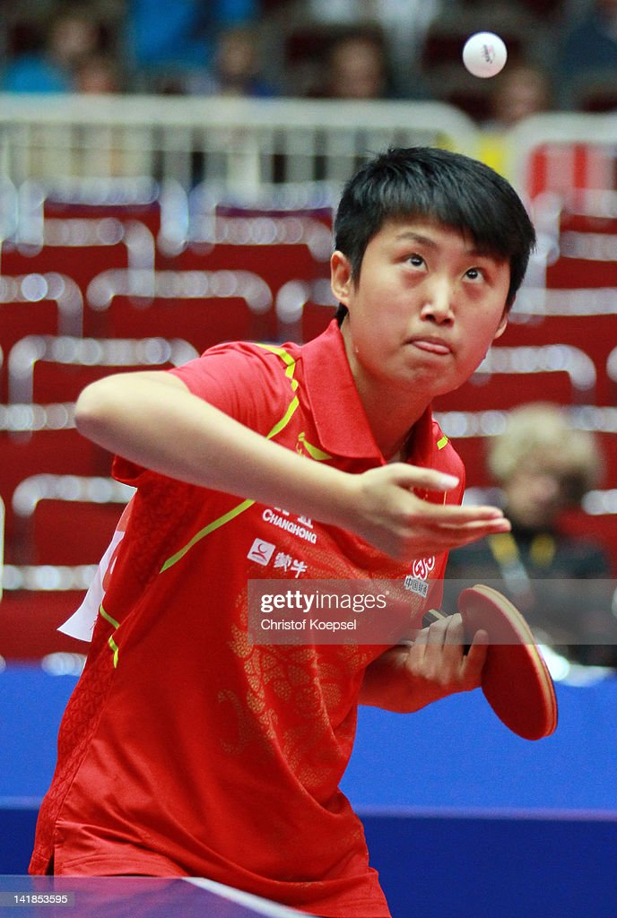 <a gi-track='captionPersonalityLinkClicked' href=/galleries/search?phrase=Guo+Yue&family=editorial&specificpeople=2267823 ng-click='$event.stopPropagation()'>Guo Yue</a> of China serves during the LIEBHERR table tennis team world cup 2012 championship division group A women's team match between China and Belarus at Westfalenhalle Dortmund on March 25, 2012 in Dortmund, Germany.