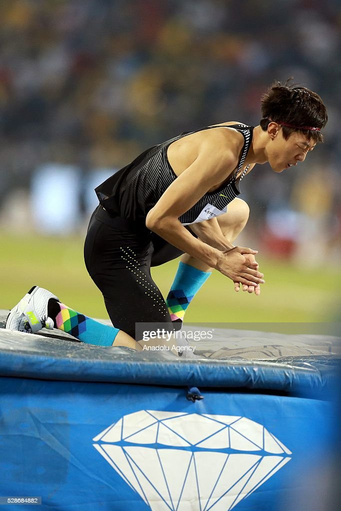 Guowei Zhang of the China competes in the High Jump final at the Diamond League athletics competition at the Qatar Sports Club Stadium in Doha on May 6, 2016.