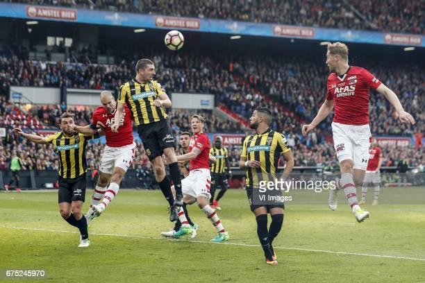 Guram Kashia of Vitesse Ron Vlaar of AZ Arnold Kruiswijk of Vitesse Matt Miazga of Vitesse Wout Weghorst of AZ Marvelous Nakamba of Vitesse Adnane...