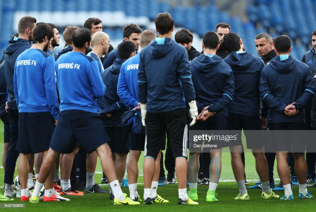 Gurban Gurbanov, manager of Qarabag FK talks to the squad during a Qarabag training session ahead of the UEFA Champions League Group C match against Chelsea at Stamford Bridge on September 11, 2017 in London, England.