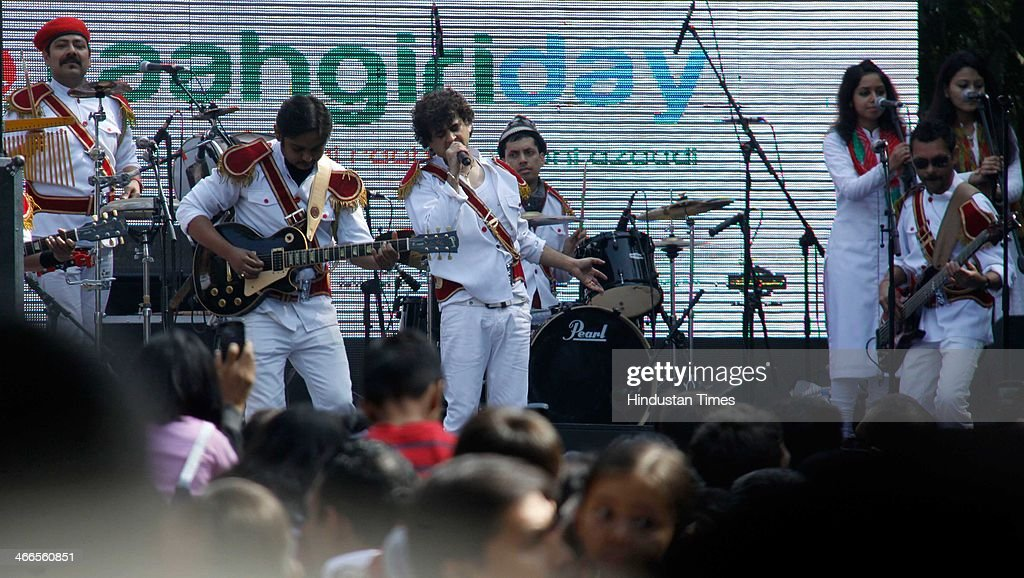 Palash Sen (C), Indian Bollywood singer, musician and composer with his Euphoria rock band performing first ever street concert, where they attracted huge crowd during Raahgiri Day, on February 2, 2014 in Gurgaon, India.