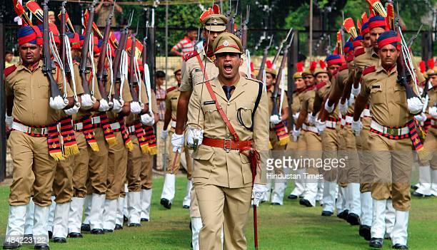 Gurgaon Police battalion march past on the occasion of 69th Independence Day celebration at Tau Devi Lal stadium on August 15 2015 in Gurgaon India...