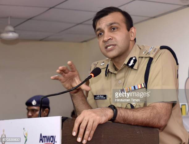 Gurgaon Police Commissioner Sandeep Khirwar addresses students during the tieup with Amway India to provide women security in the city more than...