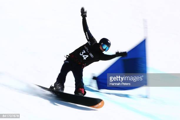 Gurimu Narita of Japan competes in the Men's Banked Slalom Lower Limb 2 Imp final during the Winter Games NZ Para Snowboard Banked Slalom World Cup...