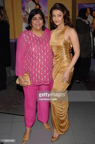Gurinder Chadha and Aishwarya Rai during Bride Prejudice New York City Premiere at United Artists Union Square in New York City New York United States