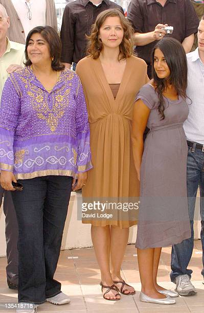 Gurinder Chadha Maggie Gyllenhaal and Cast during 2006 Cannes Film Festival 'Paris Je T'Aime' Photo Call at Palais du Festival in Cannes France
