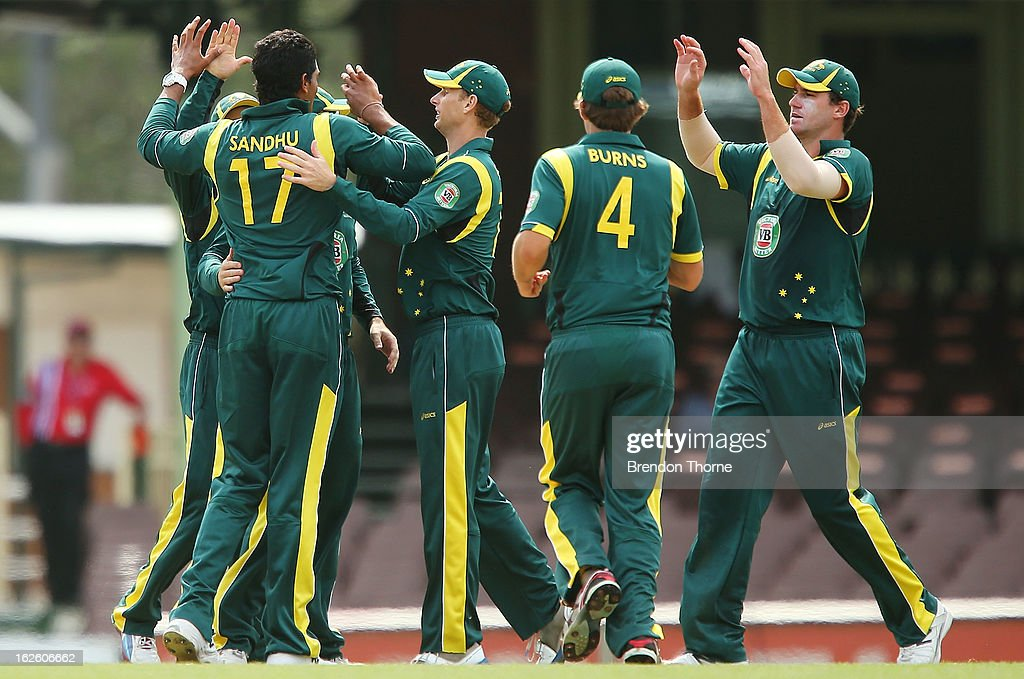Gurinder Sandhu of Australia 'A' celebrates with team mates after claiming the wicket of James Taylor of the Lions during the International Tour match between Australia 'A' and the England Lions at Sydney Cricket Ground on February 25, 2013 in Sydney, Australia.