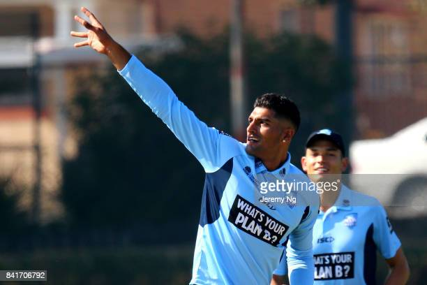 Gurinder Sandhu of Cricket NSW celebrates a wicket during the Cricket NSW Intra Squad Match at Hurstville Oval on September 2 2017 in Sydney Australia