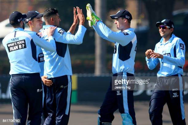 Gurinder Sandhu of Cricket NSW celebrates a wicket with his teammates during the Cricket NSW Intra Squad Match at Hurstville Oval on September 2 2017...