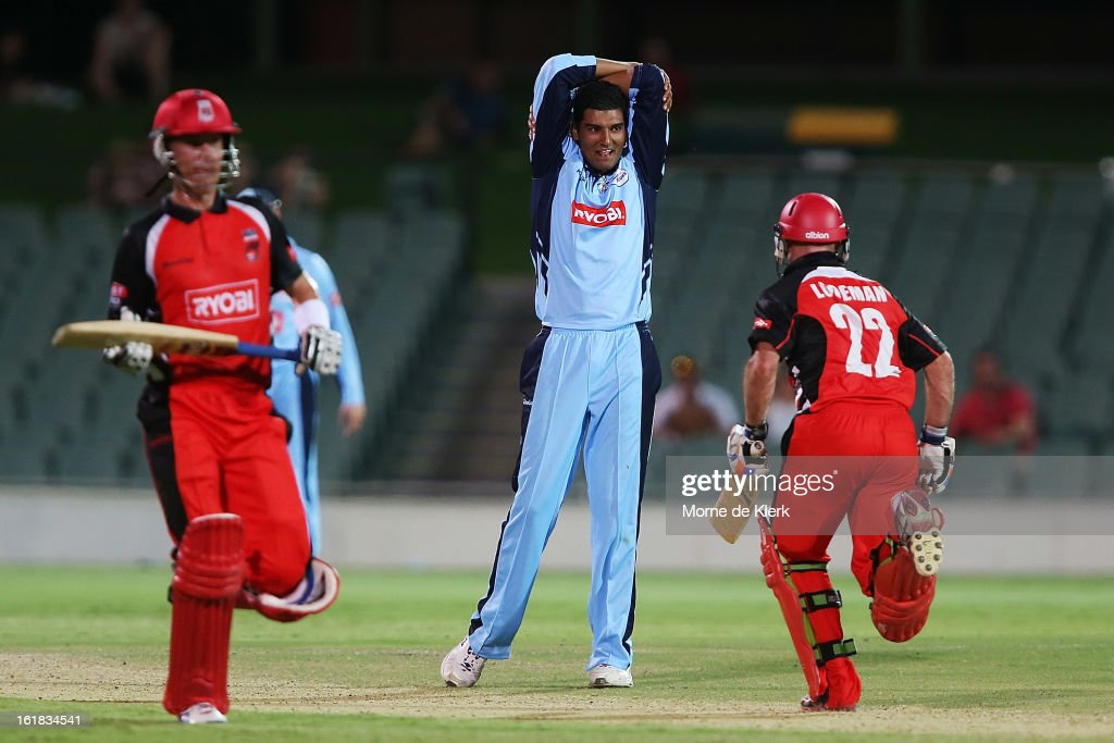 Gurinder Sandhu of the Blues reacts as Redbacks players get runs during the Ryobi One Day Cup match between the South Australian Redbacks and the New South Wales Blues at Adelaide Oval on February 17, 2013 in Adelaide, Australia.