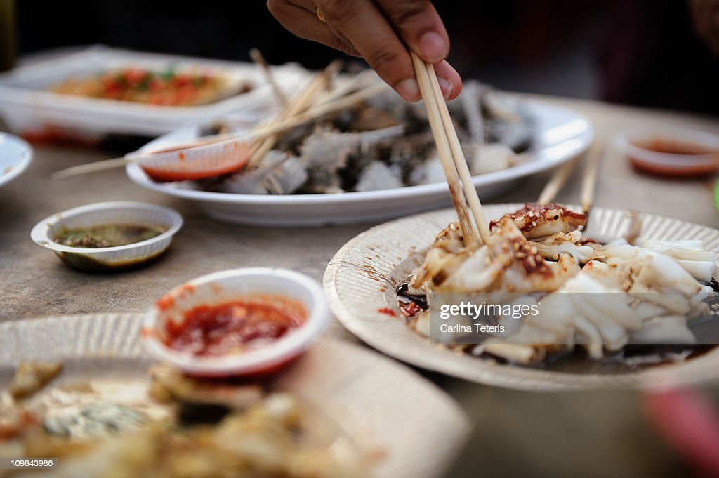 Gurney drive seafood - snails and octopus : Stock Photo