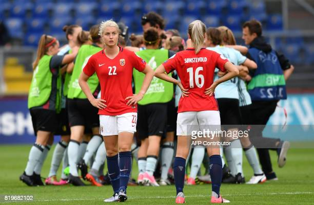 Guro Reiten and Anja Sonstevold of Norway react at the end of the UEFA Women's Euro 2017 football match between Norway and Belgium at the Rat Verlegh...