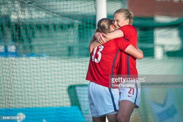 Guro Reiten Lisa Marie Utland of Norway celebrate goal during the FIFA 2018 World Cup Qualifier between Norway and Slovakia at Sarpsborg Stadion on...