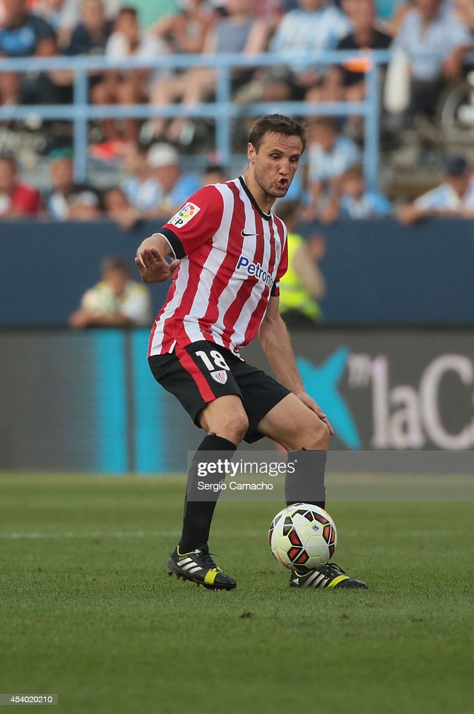 Gurpegi of Athletic Club Bilbao runs whit the ball during the La Liga match between Malaga CF and Athletic Club Bilbao at La Rosaleda Stadium on August 23, 2014 in Malaga, Spain.