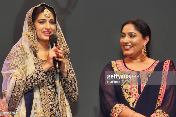 Gurpreet Kaur winner of the titles Miss World Punjaban and Miss Haryana Punjaban competes during the Miss World Punjaban beauty pageant held in...