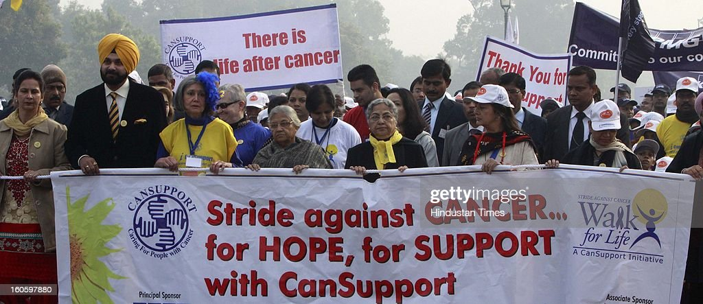 "Gursharan kaur Wife of Prime Minister Manmohan Singh, Delhi chief Minister Sheila Dikshit with CPI- M Polit Bureau member Brinda Karat, BJP MP Navjot Singh Sidhu, with his wife Punjab chief parliamentary secretary ( Health) Punjab, American Ambassador Mancy J. Powell participating the ""walk for life"" for support of 'World Cancer Day' at Rajpath on February 3, 2013 in New Delhi, India. A Colorful event that saw school children prominent citizens and peoples from all Sections of Society gather to express their solidarity with hose living with cancer and to mark world cancer day."