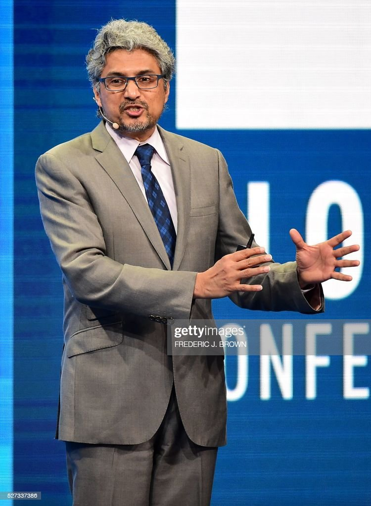 Guruduth Banavar, Vice President and Chief Science Officer, Cognitive Computing, IBM, addresses the audience during the lunch program 'The Future of Humankind' at the 2016 Milken Institute Global Conference in Beverly Hills, California on May 2, 2016. / AFP / FREDERIC