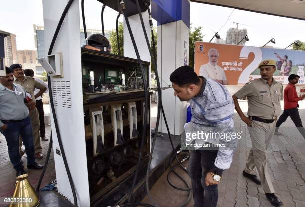 Gurugram authorities checking fuel stations at Golf Course Ext Road on May 9 2017 in Gurugram India In the backdrop of oil theft at some filling...