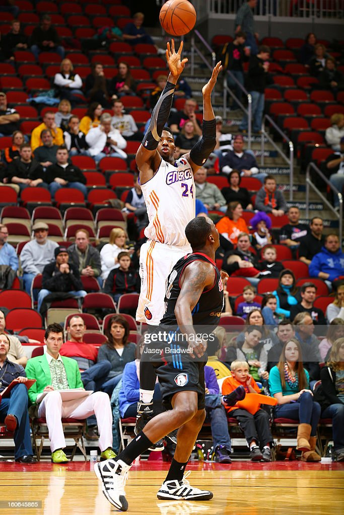 Gus Gilchrist #24 of the Iowa Energy fires off a jump-shot over the Springfield Armor in an NBA D-League game on February 2, 2013 at the Wells Fargo Arena in Des Moines, Iowa.