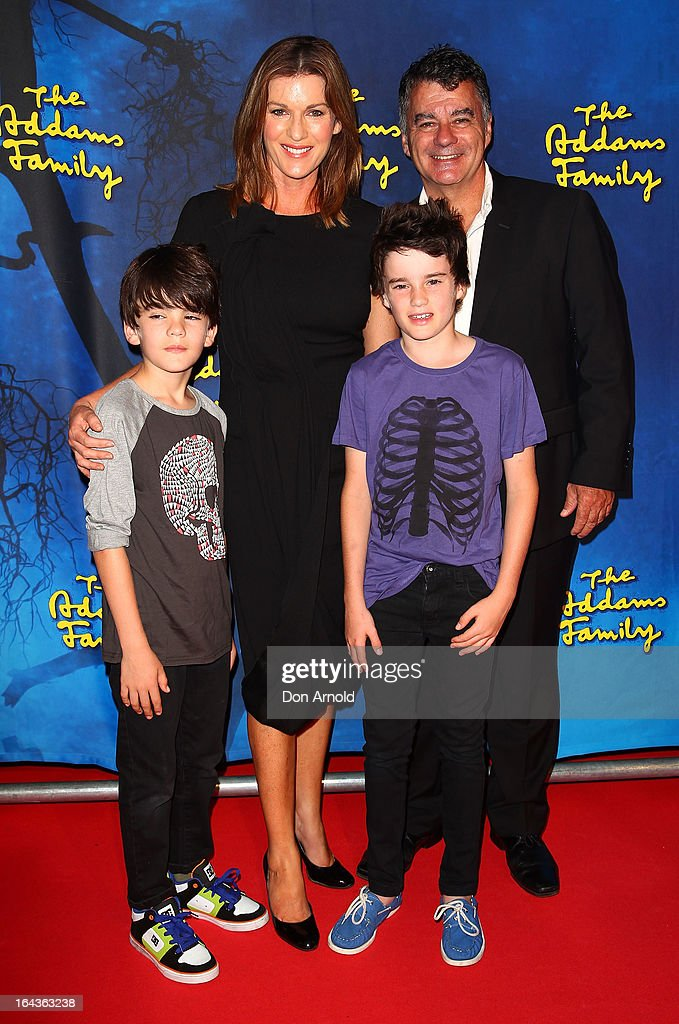 Gus Gillies, Kylie Gillies, Archie Gillies and Tony Gillies arrive for 'The Addams Family' Musical Premiere at the Capitol Theatre on March 23, 2013 in Sydney, Australia.