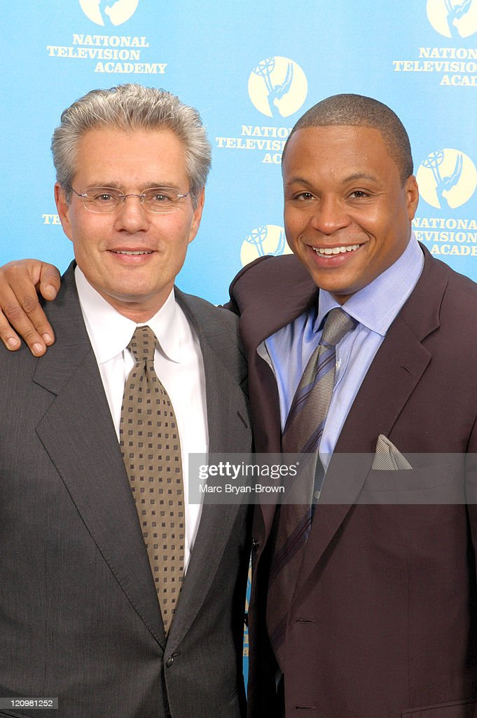 Gus Johnson and Armen Keteyian during 27th Annual Sports Emmy Awards - Press Room at Frederick P. Rose Hall at Lincoln Center in New York City, New York, United States.