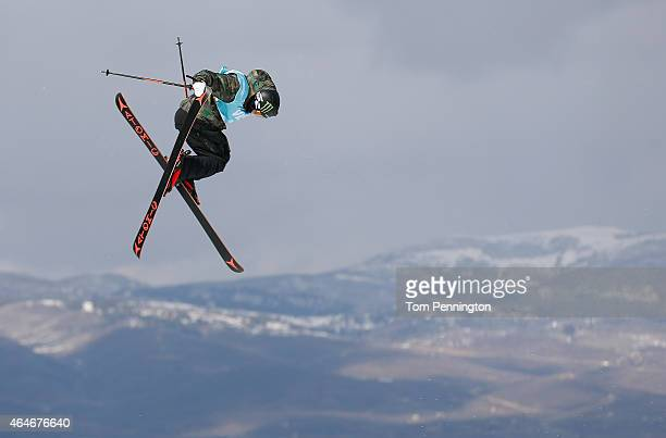 Gus Kenworthy competes during the FIS Freeskiing World Cup 2015 Men's Freeskiing Slopestyle Final during the US Grand Prix at Park City Mountain on...