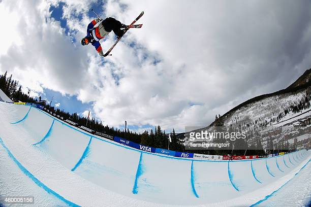 Gus Kenworthy competes in the final round of the FIS Freestyle Ski World Cup 2015 men's ski halfpipe during the USSA Grand Prix on December 5 2014 in...