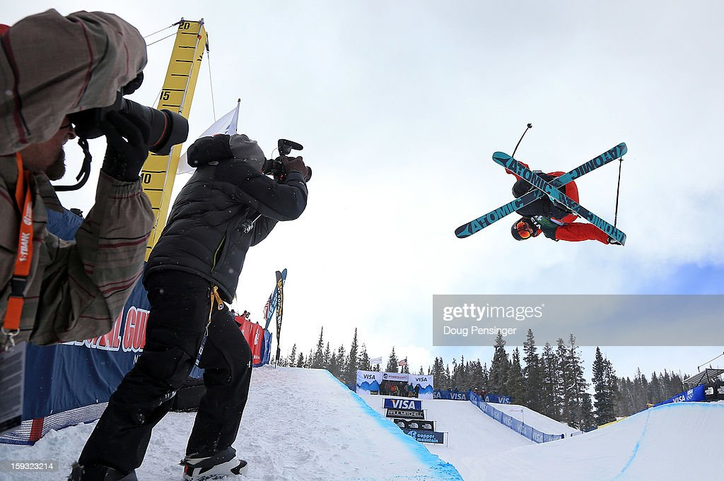 Gus Kenworthy of the USA is the subject of the photographers as he skis in the finals of the FIS Freestyle Ski Half Pipe World Cup at the US Grand Prix on January 11, 2013 in Copper Mountain, Colorado.