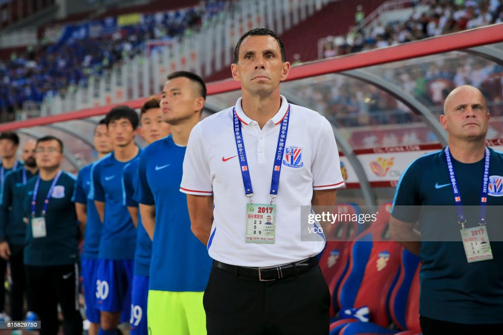 Gus Poyet, head coach of Shanghai Shenhua, looks on during the 17th round match of 2017 Chinese Football Association Super League (CSL) between Tianjin Quanjian and Shanghai Shenhua at Haihe Educational Football Stadium on July 16, 2017 in Tianjin, China.