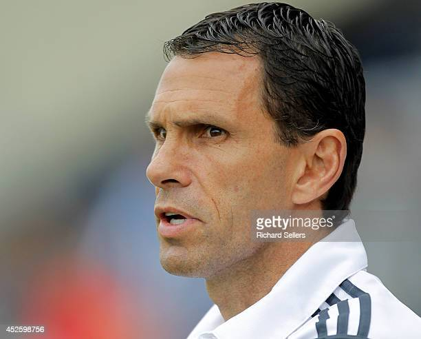 Gus Poyet manager of Sunderland Fc during before the preseason friendly between Hartlepool United v Sunderland at Victoria Park on July 23 2014 in...