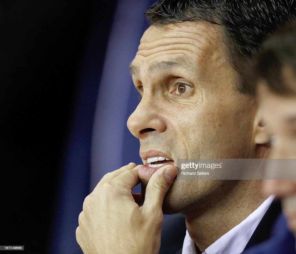 Gus Poyet, Sunderland manager during the Capital One Cup fourth Round match between Sunderland and Southampton at Stadium of Light on November 06, 2013 in Sunderland, England.