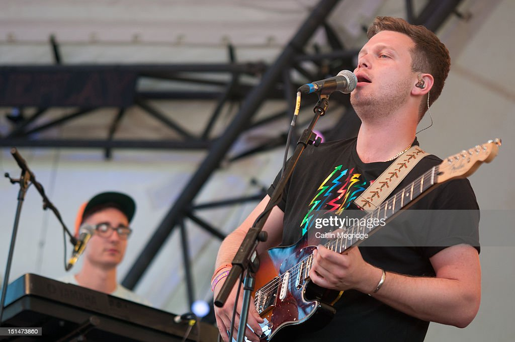 Gus Unger-Hamilton and Joe Newman perform on stage at Bestival at Robin Hill Country Park on September 7, 2012 in Newport, United Kingdom.